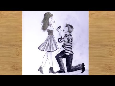 How to Draw Love Propose Scenery with Romantic Couple - pencil sketch step by step. thumbnail