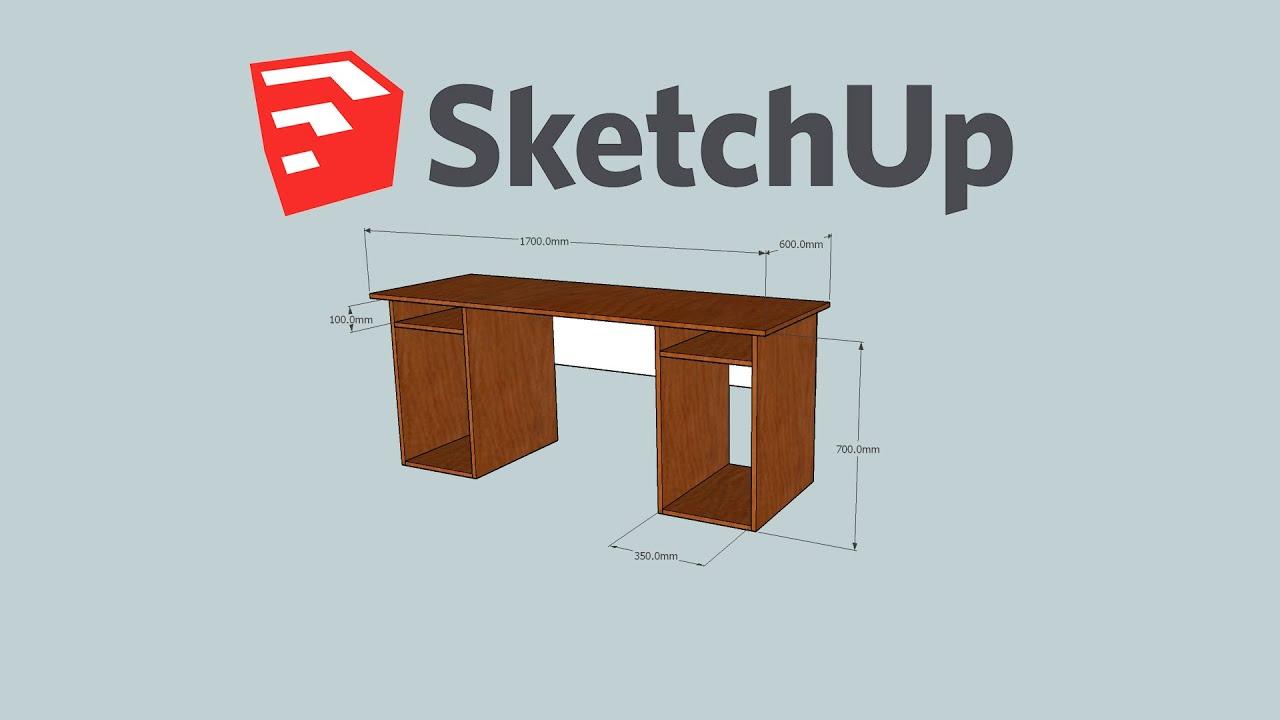 Simple Modern Plywood Computer Desk Google Sketchup Make