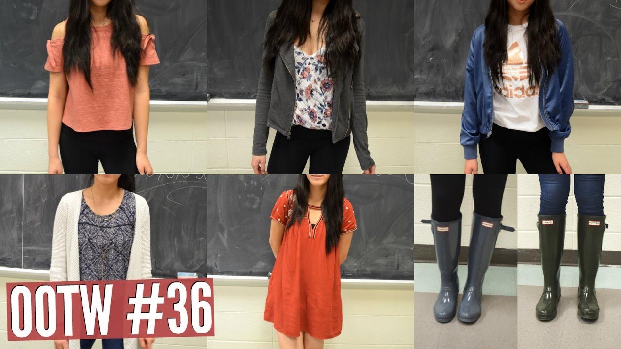 OOTW #30: Rainy Day School Outfits! - Ft. Hunter Rain Boots ♡  Emily &  Amanda