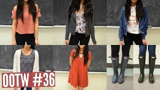 OOTW #36: Rainy Day School Outfits! - Ft. Hunter Rain Boots ♡ | Emily & Amanda