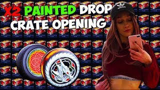 DOUBLE PAINTED DROP RATE PCC CRATE OPENING + TRADE UPS WITH MY GIRLFRIEND! | Rocket League