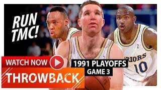Chris Mullin, Tim Hardaway & Mitch Richmond Game 3 Highlights vs Spurs 1991 Playoffs - RUN TMC!