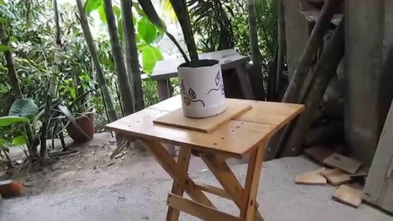 Como hacer una mesita plegable de madera parte 2 y ltima for Crear una cubierta de madera