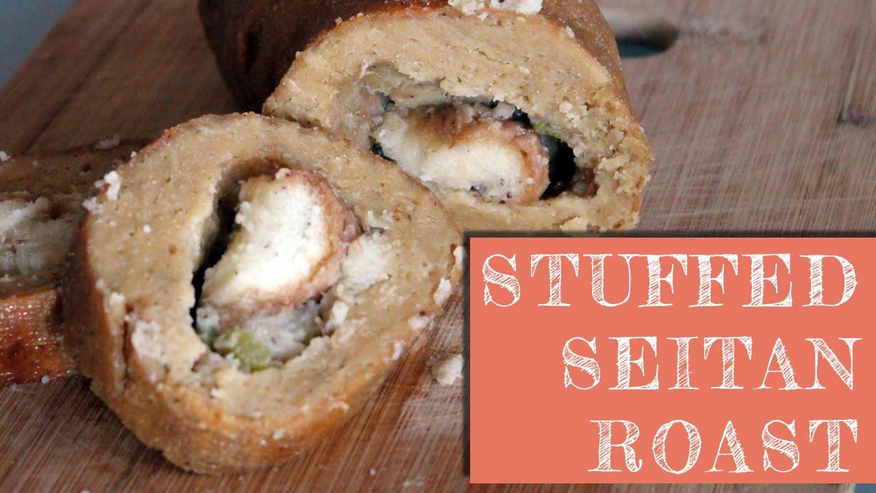 Vegan Holiday Roast: Stuffed Seitan with Mushroom Gravy
