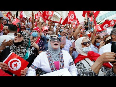 ...مظاهرات في تونس العاصمة احتجاجا على -استئثار الرئيس ب  - 15:56-2021 / 9 / 26
