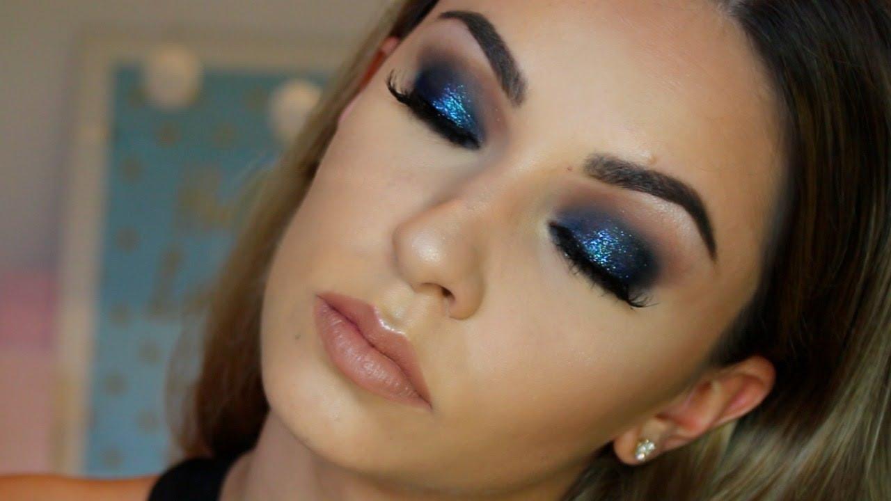 Blue Glitter Smokey Eye Makeup Tutorial For Hooded Eyes Youtube