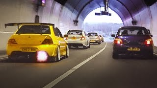 Mitsubishi Evo Tunnel Run LOUD Sounds And Accelerations