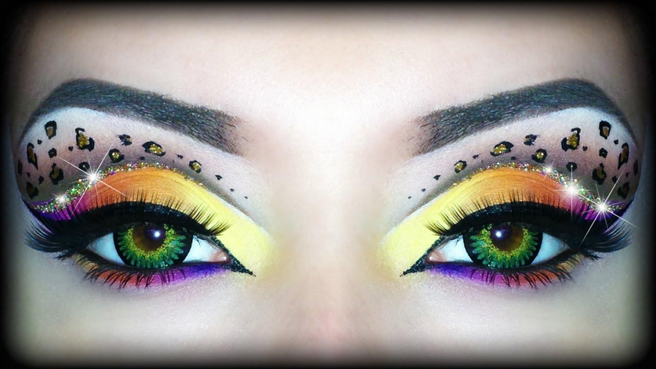 rainbow leopard print makeup tutorial sexy halloween