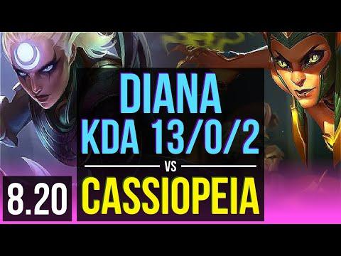 DIANA vs CASSIOPEIA (MID) | KDA 13/0/2, 800+ games, Legendary | Korea Diamond | v8.20