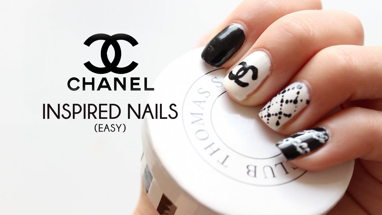 Diy Chanel Inspired Nail Art Tutorial Youtube