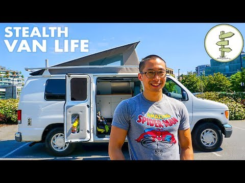Rock Climber's Awesome Pop Top Stealth Camper Van Tour - Van Life