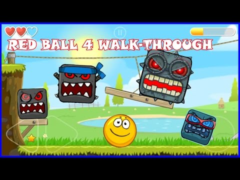 Playing Red Ball 4 with Gold Ball.  Complete game walk-through with all boss fights.