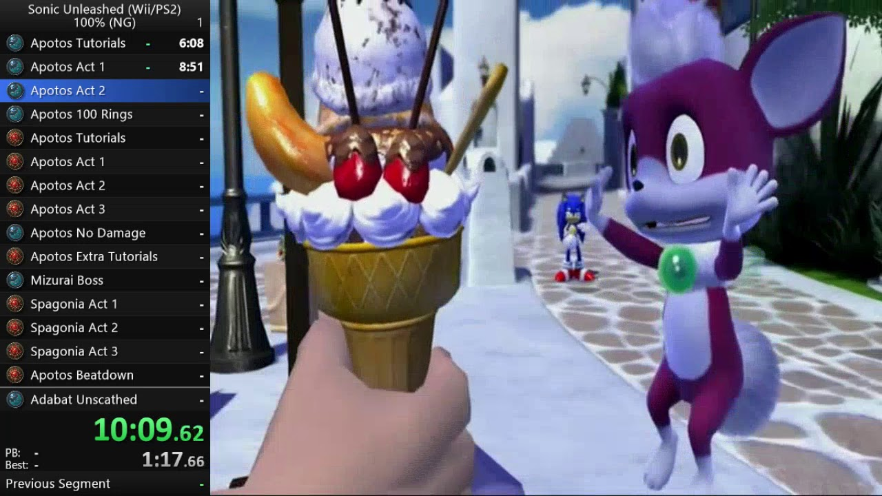 Sonic Unleashed (Wii) 100% Speedrun in 8:02:02 [UNOFFICIAL CATEGORY]