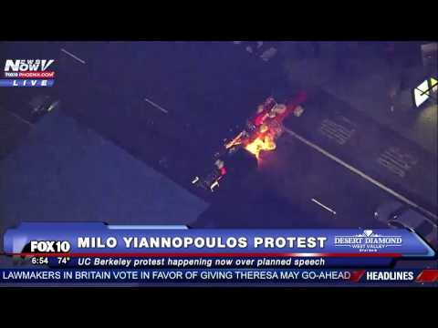 CHAOS: Milo Yiannopoulos Protest @ UC Berkeley, THOUSANDS Protest Breitbart Editor's Speech FNN