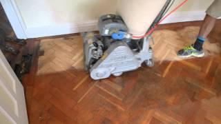 Parquet floor sanding restoration with dust free Frank Cobra sander