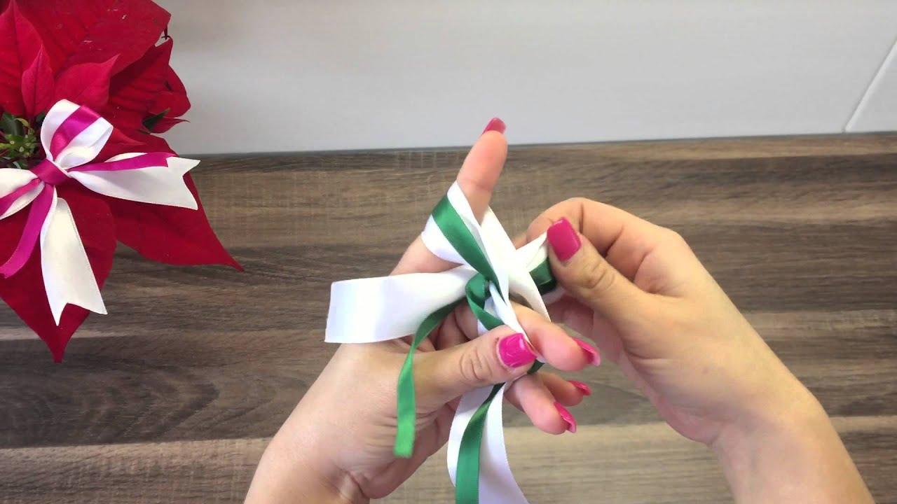 Diy schleife aus 2 schleifenb ndern binden basteln f r for Schleife binden youtube