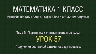 Математика 1 класс. Урок 57. Получение составной задачи из двух простых (2012)