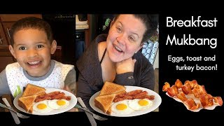 Eggs and Bacon Breakfast with my son Mukbang | chat session