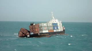 ship sinking live video captured at sea / a real container ship sinking video captured - part 1