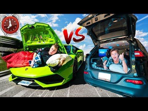 24 Hour LAMBORGHINI Vs JEEP Challenge! $10,000 Vs $300,000 CAR Overnight