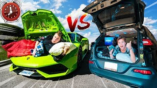 24 Hour LAMBORGHINI Vs JEEP Challenge! $10,000 Vs $300,000 CAR Overnight
