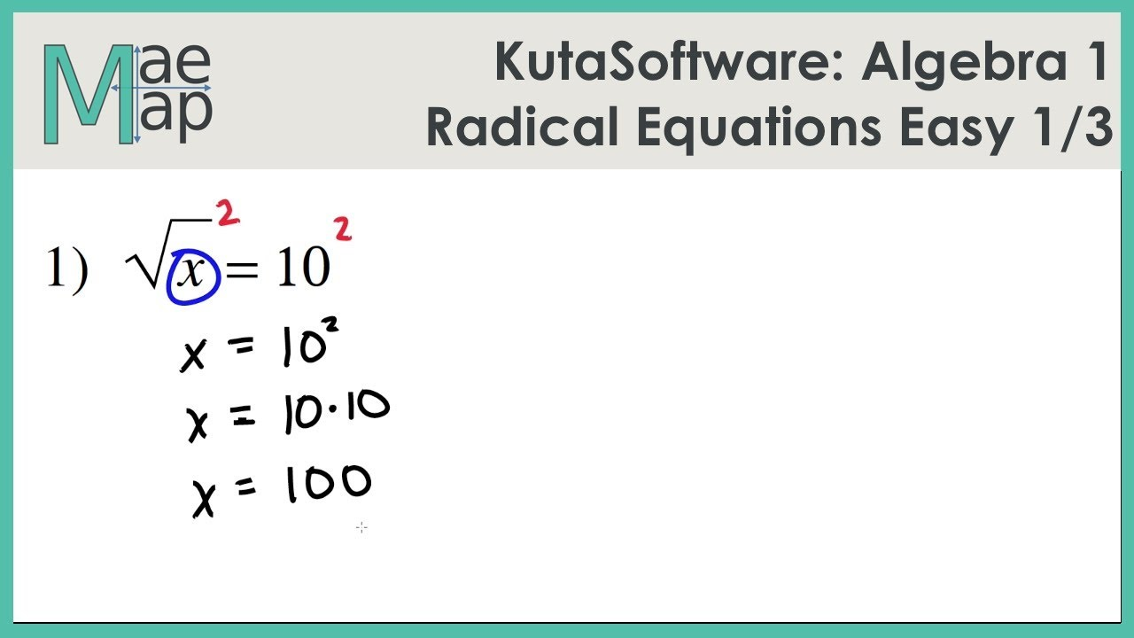 KutaSoftware Algebra 1 Radical Equations Easy Part 1 YouTube – Solving Radical Equations Worksheet with Answers
