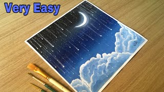 Moon Light Watercolor painting !! Happy Eid Drawing