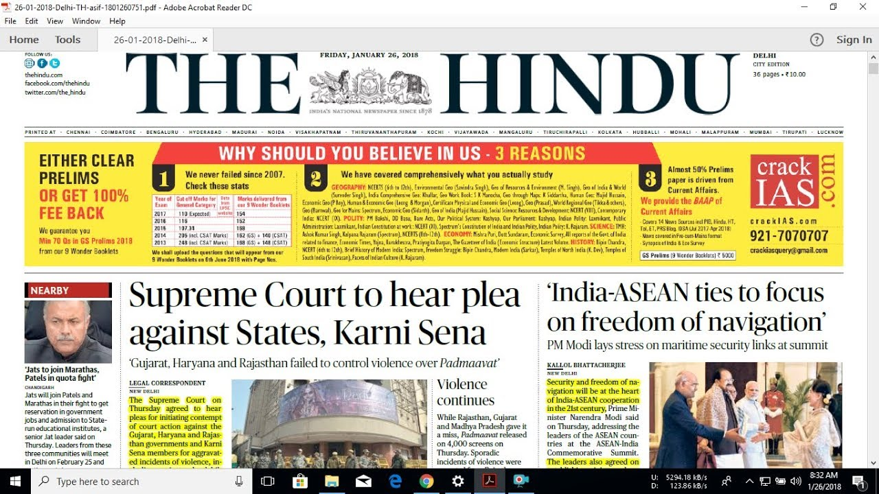 The Hindu Newspaper is available in PDF form at official The Hindu Newspaper website at Rs per month. However, I get free access to The Hindu e-paper at Toprankers portal. TopRankers is a trusted platform for the preparation of competitive examination.