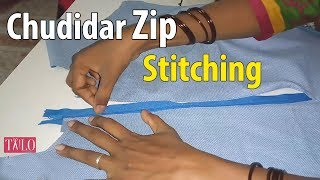 Chudidar Zip Stitching Easy Method (zip attachment) churidar back neck finish with invisible zipper