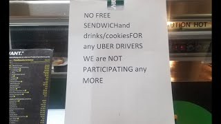 Uber- No More Free Sendwich's For Drivers