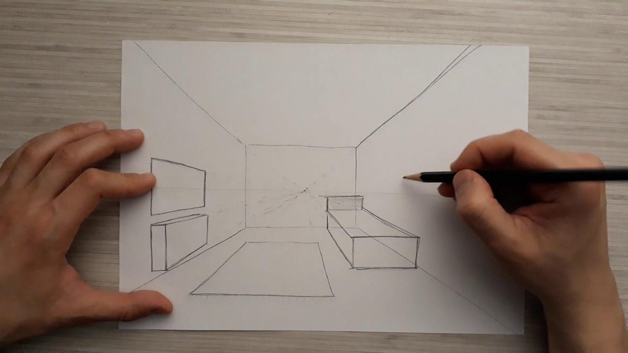 Tek kaçışlı perspektif oda çizimi
