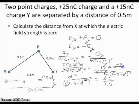 Calculating Electric Field Strength With Two Point Charges