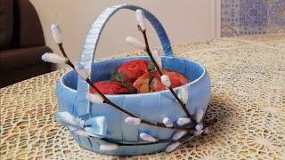 Поделка на Пасху, пасхальная корзинка для яиц, украшенная веточками вербы, своими руками DIY