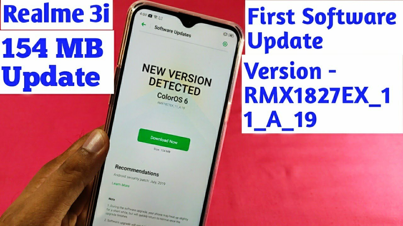 Realme 3i Received First Software Update   Realme 3i July OTA Update    Realme 3i July Security Patch