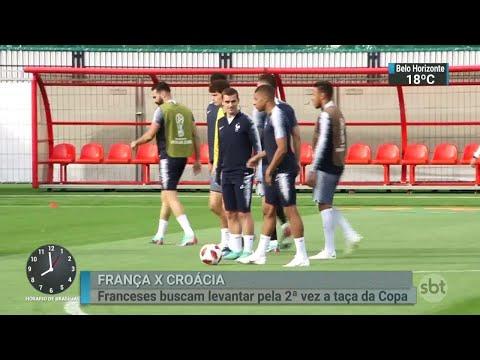 França faz último treino antes de encarar a Croácia na final do Mundial | SBT Brasil (14/07/18)
