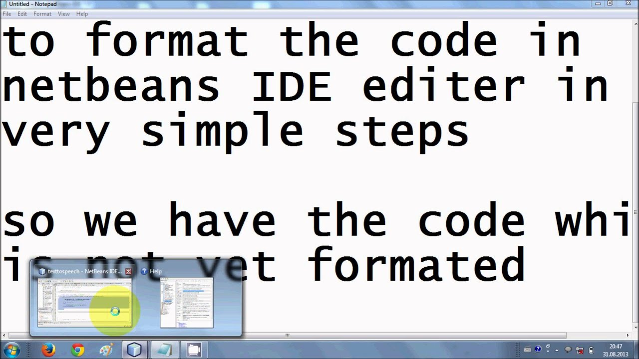 How to format code in Netbeans