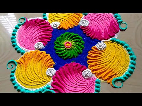 Easy New year 2019 rangoli/Christmas rangoli designs