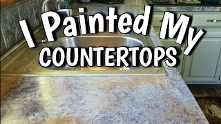 How to Paint Countertops - Looks Like Slate - $65 DIY Budget Friendly Kitchen Update