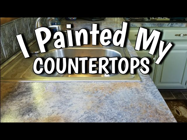How To Paint Countertops Looks Like Slate 65 Diy Budget Friendly Kitchen Update Youtube