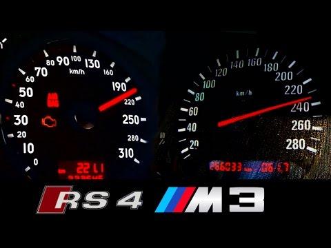 Audi RS4 vs BMW M3 Acceleration + Exhaust Sound Autobahn Onboard E36 B5 Vergleich Test