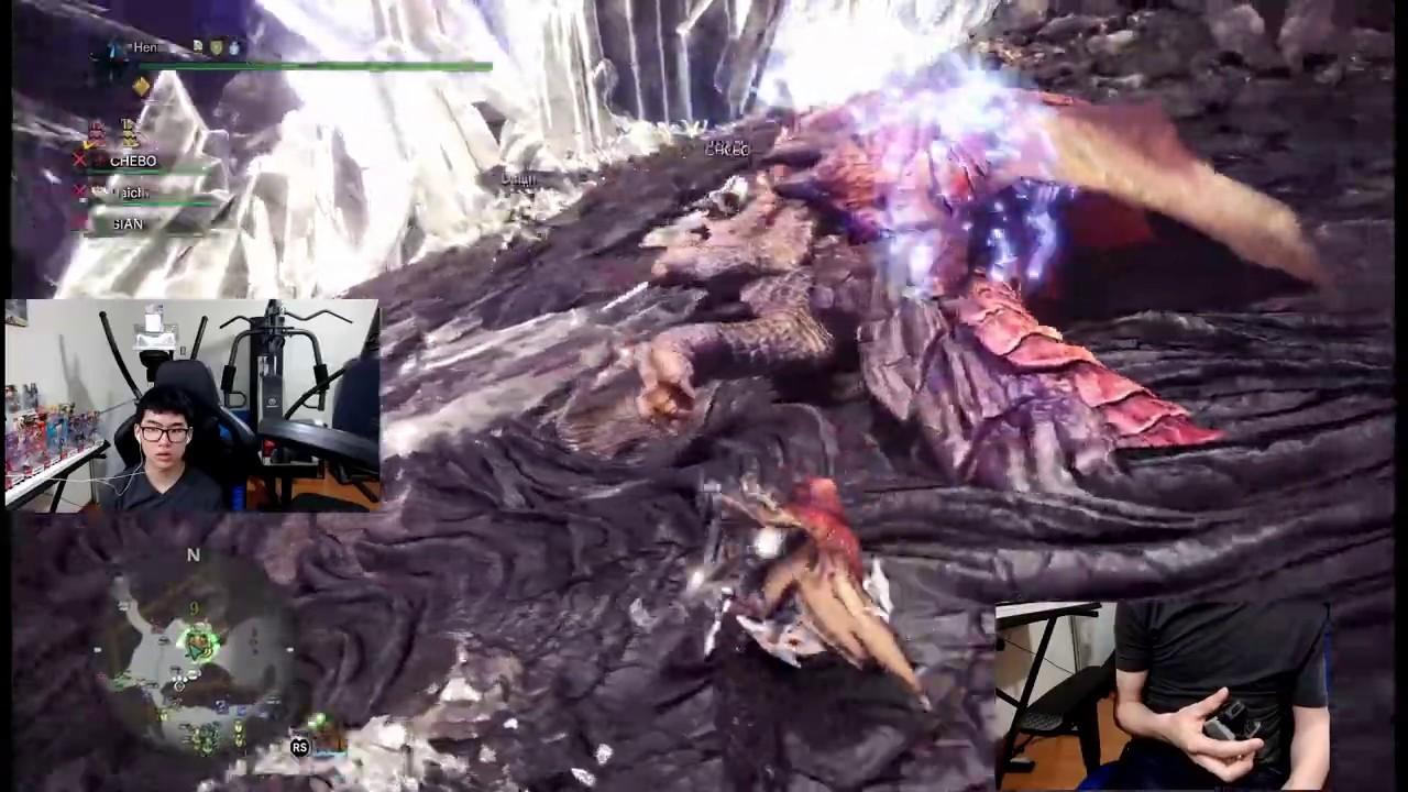 Cazando un Teostra tempered en Monster Hunter World con una mano