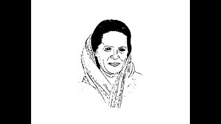 How to draw Sonia Gandhi face pencil drawing step by step