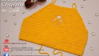 Professora Simone - Cropped Charme Amarelo em crochê - Tamanho Unico