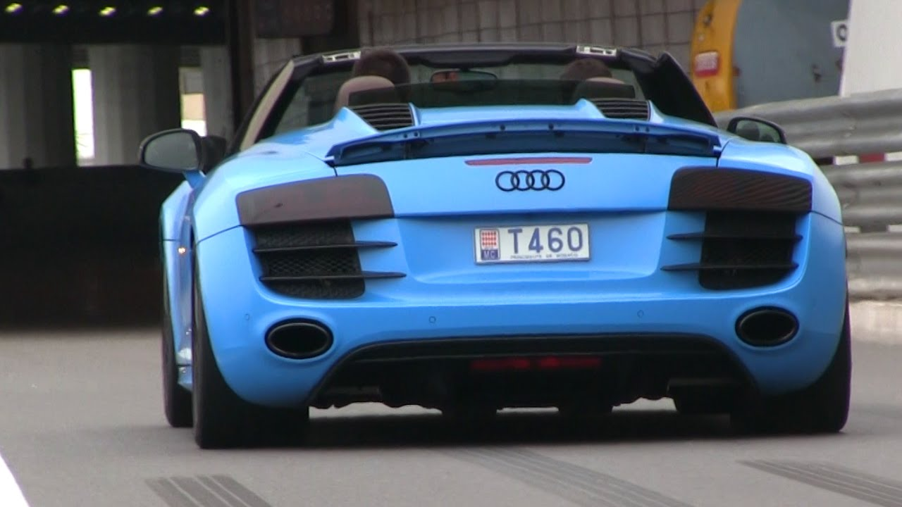 Baby Blue Audi R8 Spyder in Monaco - YouTube