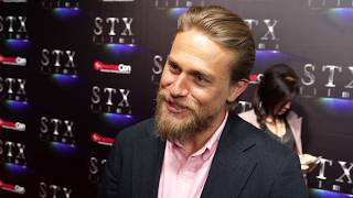 Charlie Hunnam discusses his film The Gentlemen & Sons of Anarchy that  now has him teaching yoga