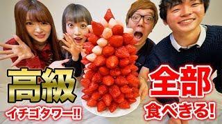 【大食い】超高級イチゴタワー全部食べれるまで帰れません!【1粒400円】 thumbnail