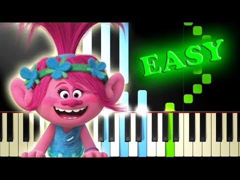 JUSTIN TIMBERLAKE - CAN'T STOP THE FEELING from TROLLS - Easy Piano Tutorial