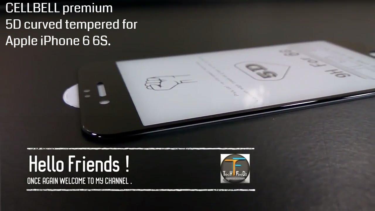 meet d050b 2e8fb #CELLBELLDesk | CELLBELL Apple iPhone 6 6S (5D)(BLACK) Full Body Tempered  Glass Unboxing