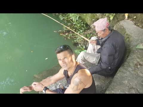 Nepal Katmandhu Locals fishing. Fun