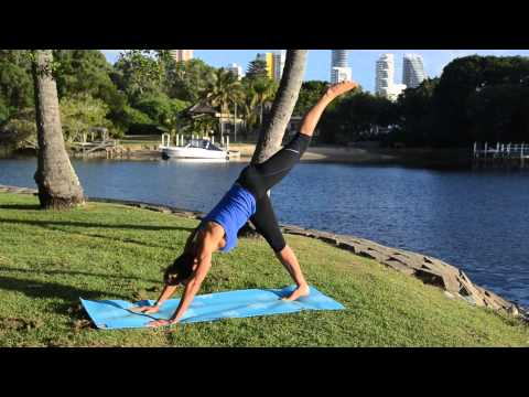 Three legged downward dog or Down dog split (Eka Pada Adho Mukha Svanasana)